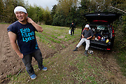 Seiji Kanari (left) the leader of the Arigato Farm project, Ogawa Machi, Iwaki, Fukushima, Japan. Sunday May 6th 2012