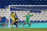 Ben Fox of Burton Albion (22) scores his teams 2nd goal from a header. Carabao Cup 2nd round match, Cardiff city v Burton Albion at the Cardiff City Stadium in Cardiff, South Wales on Tuesday 22nd August  2017.<br /> pic by Andrew Orchard, Andrew Orchard sports photography.