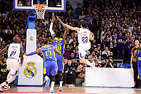 Real Madrid's Sergio Llull and Othello Hunter and Maccabi Fox's Sonny Weens and Quincy Miller during Turkish Airlines Euroleague match between Real Madrid and Maccabi at Wizink Center in Madrid, Spain. January 13, 2017. (ALTERPHOTOS/BorjaB.Hojas)