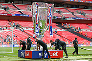 The giant trophy model, replica after the EFL Sky Bet League 2 Play Off Final match between Newport County and Tranmere Rovers at Wembley Stadium, London, England on 25 May 2019.