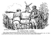 """The Agricultural Classes. Visitor. """"What is the difference between a small holder and a small farmer?"""" Oldest inhabitant. """"Wull, a varmer be a man as won't own up as 'e's made a profit no'ow - artful like; An' small-'olders, they be men as won't never admit that they be doing badly - terrible obst'nit-minded."""" (a cartoon showing a visitor from the city to the country and differences in class and accents during the InterWar era)"""