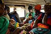 Victims of sexual violence, some of them also gave a birth to babies from the rapes, sit inside the jeep provided by an NGO to the Kichanga transit center in Kichanga, Masisi Territory, before heading back to their homes. Most of their homes were far away from the point where a jeep can access, then they would have to walk back to their villages which take as long as three to five hours. The route that they took was notorious for the armed bandits and FDLR  (Forces démocratiques de libération du Rwanda) militias.
