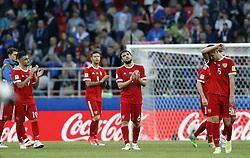 June 21, 2017 - Jogadores da Rússia lamentam derrota após a partida entre Rússia x Portugal válida pela segunda rodada da Copa das Confederações 2017, nesta quarta-feira (21), realizada no Estádio do Spartak (Otkrytie Arena), em Moscou, na Rússia. (Credit Image: © Rodolfo Buhrer/Fotoarena via ZUMA Press)