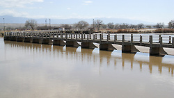Rio Grande River and Bridge in Albuquerque New Mexico. Central Avenue going West along Old US Route 66