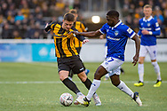 Maidstone United midfielder Jack Paxman (10) and Oldham Athletic midfielder Christopher Missilou (17) during the The FA Cup match between Maidstone United and Oldham Athletic at the Gallagher Stadium, Maidstone, United Kingdom on 1 December 2018. Photo by Martin Cole