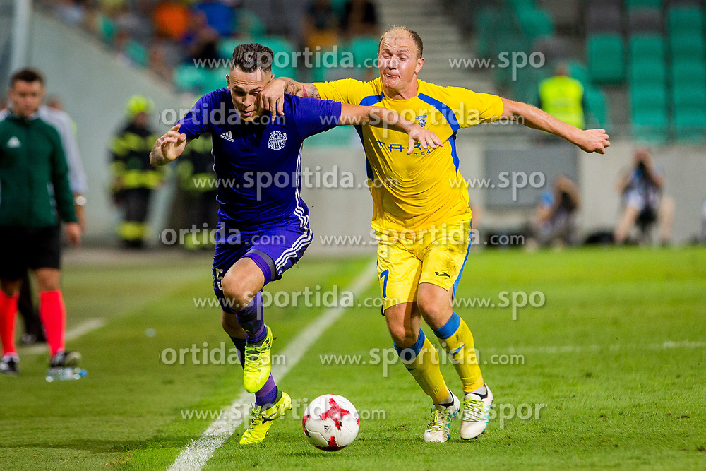 Senijad Ibricic of NK Domzale and Lucas Ocampos of Olympic Marseille during football match between NK Domzale and Olympique de Marseille in First game of UEFA Europa League playoff round, on August 17, 2017 in SRC Stozice, Ljubljana, Slovenia. Photo by Ziga Zupan / Sportida