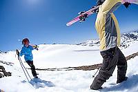 Group of skiers hiking at Kirkwood resort near Lake Tahoe, CA.<br />