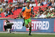 Forest Green Rovers Omar Bugiel(11) warming up during the Vanarama National League Play Off Final match between Tranmere Rovers and Forest Green Rovers at Wembley Stadium, London, England on 14 May 2017. Photo by Shane Healey.