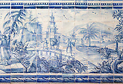 Blue and white azulejo tiles Oriental Far Eastern landscape China, University of Evora, Portugal