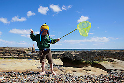 © Paul Thompson licensed to London News Pictures. 01/06/2015. Nicholas Tidswell-Thompson (4) exploring rock pools on Amble Beach Northumberland. Photo credit : Paul Thompson/LNP