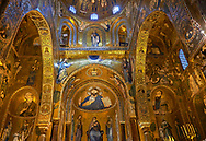 Medieval Byzantine style mosaics of the main aisle of the  Palatine Chapel, Cappella Palatina, Palermo, Italy .<br /> <br /> If you prefer you can also buy from our ALAMY PHOTO LIBRARY  Collection visit : https://www.alamy.com/portfolio/paul-williams-funkystock/byzantine-art-antiquities.html . Type -    Palatine     - into the LOWER SEARCH WITHIN GALLERY box. Refine search by adding background colour, place, museum etc<br /> <br /> Visit our BYZANTINE MOSAIC PHOTO COLLECTION for more   photos  to download or buy as prints https://funkystock.photoshelter.com/gallery-collection/Roman-Byzantine-Art-Artefacts-Antiquities-Historic-Sites-Pictures-Images-of/C0000lW_87AclrOk