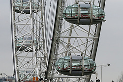 © Licensed to London News Pictures. 07/01/2019. London, UK. Empty capsules on London Eye which is closed for it's annual maintenance refurbishment. The popular tourist attraction is 135m/443ft high and there are 32 capsules attached to the wheel will re-open on 23rd January 2019. The London Eye is Europe's tallest cantilevered observation wheel and over 3.75 million visitors visits the London Eye annually. Photo credit: Dinendra Haria/LNP
