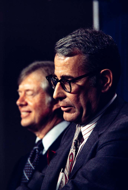 Harold Brown, born September 19, 1927, an American scientist, was U.S. Secretary of Defense from 1977 to 1981 in the cabinet of President Jimmy Carter. He had previously served in the Lyndon Johnson administration as Director of Defense Research and Engineering and Secretary of the Air Force.<br /> <br /> While Secretary of Defense, he insisted in laying the groundwork for the Camp David accords. He took part in the strategic arms negotiations with the Soviet Union and supported, unsuccessfully, ratification of the SALT II treaty. He advocated détente with the Soviet Union, an issue over which he conflicted with National Security Advisor Zbigniew Brzezinski.