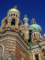 View of the domes on the beautiful Church on the Savior of Blood in St Petersburg, Russia.