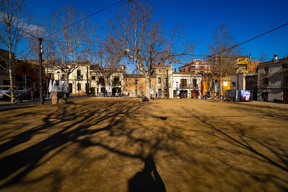 Empty ity square during Covid 19 crisis, January 2021. Placa Barcelona, Sant Cugat del Valles, Barcelona, Catalonia, Spain