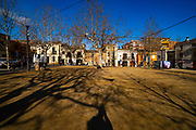 Empty ity square during Covid 19 crisis, January 2021. Placa Barcelona, Sant Cugat del Valles, Barcelona, Catalonia, Spain