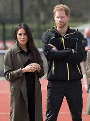 Prince Harry and Meghan Markle attend the UK team trials for the Invictus Games in Sydney 2018  at the University of Bath Sports Training Village on April 6, 2018.   The Invictus Games is the only international sports event for wounded, injured and sick servicemen and women, both serving and veteran. The Games use the power of sport to inspire recovery, support rehabilitation and generate a wider understanding and respect of all those who serve their country.