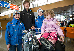 Slovenian ski jumper Peter Prevc (middle), his brother Domen (L), Cene (R) and sister Nika at arrival to Airport Joze Pucnik from Vancouver after Winter Olympic games 2010, on February 24, 2010 in Brnik, Slovenia. (Photo by Vid Ponikvar / Sportida)