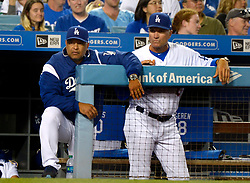 June 24, 2017 - Los Angeles, California, U.S. - Los Angeles Dodgers manager Dave Roberts, left, along with bench coach Bob Geren during a Major League baseball game against the Colorado Rockies at Dodger Stadium on Saturday, June 24, 2017 in Los Angeles. Los Angeles Dodgers won 4-0. (Photo by Keith Birmingham, Pasadena Star-News/SCNG) (Credit Image: © San Gabriel Valley Tribune via ZUMA Wire)