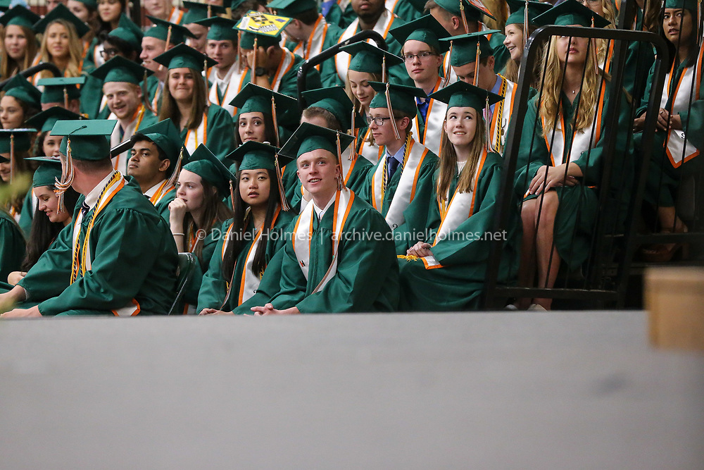 (5/31/19, HOPKINTON, MA) Graduates listen to speeches  during graduation at Hopkinton High School on Friday. [Daily News and Wicked Local Photo/Dan Holmes]