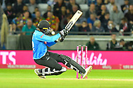 Jofra Archer of Sussex falls over as he plays and misses during the final of the Vitality T20 Finals Day 2018 match between Worcestershire Rapids and Sussex Sharks at Edgbaston, Birmingham, United Kingdom on 15 September 2018.