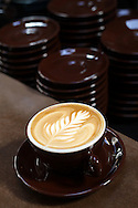 A freshly crafted latte sits on a counter at  Sightglass Coffee Bar and Roastery on Seventh Street in San Francisco, CA on November 1, 2011.