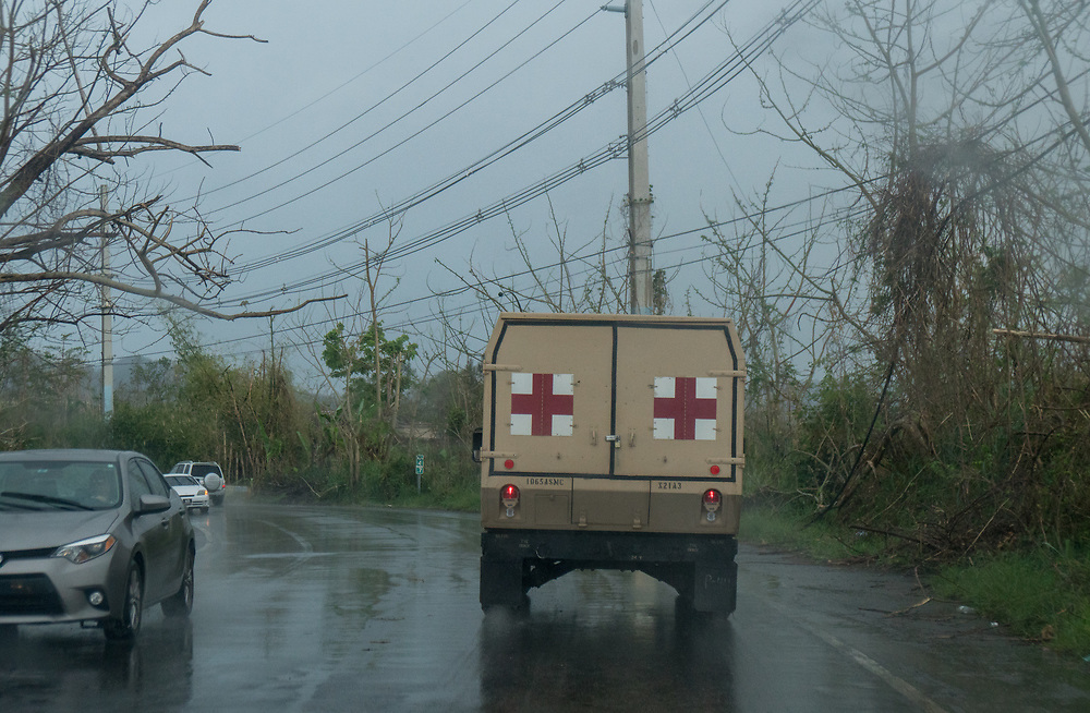 OCTOBER 6, 2017--RINCON, PUERTO RICO ---<br /> A military ambulance driving through the roads of Rincon  following the path of Hurricane Maria through Puerto Rico.<br /> (Photo by Angel Valentin/Freelance)