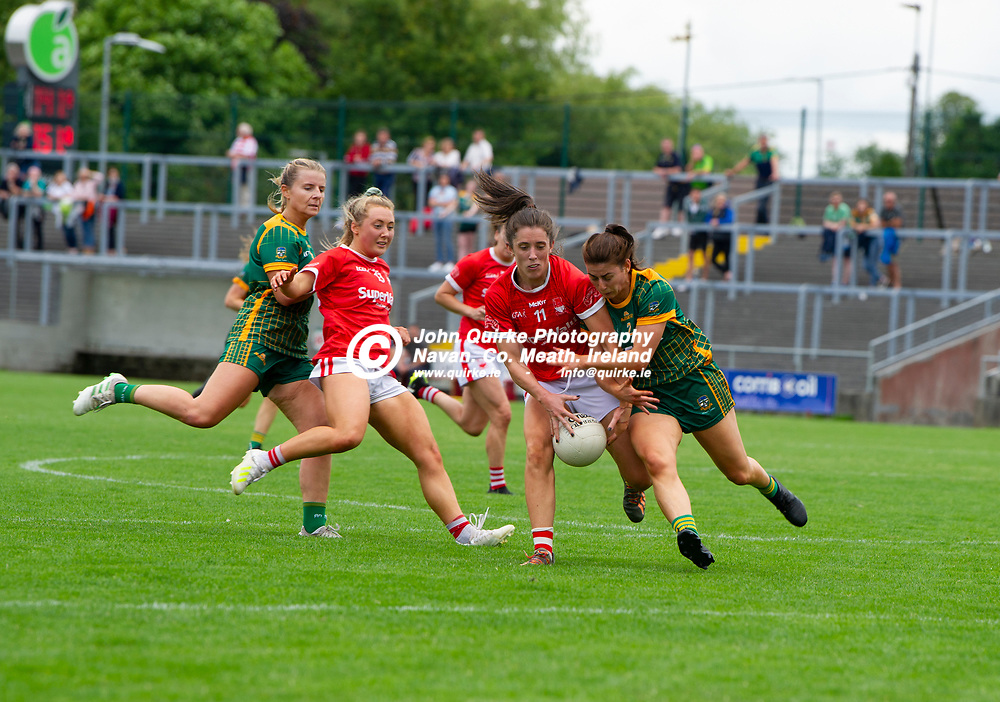 10-07-21. Meath v Cork - LGFA All-Ireland Senior Championship - Group 3 Round 1 at St. Brendan's Park, Birr.<br /> Ciara O'Sullivan, Cork in action against Emma Troy, Meath.<br /> Photo: John Quirke / www.quirke.ie<br /> ©John Quirke Photography, 16 Proudstown Road, Navan. Co. Meath. (info@quirke.ie / 046-9028461 / 087-2579454).