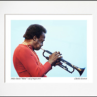"""Miles Davis """"blow"""" - An affordable archival quality matted print ready for framing at home.<br />  Ideal as a gift or for collectors to cherish, printed on Fuji Crystal Archive photographic paper set in a neutral mat (all mounting materials are acid free conservation grade). <br />  The image (approx 6""""x8"""") sits within a titled border. The outer dimensions of the mat are approx 10""""x12""""."""