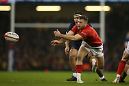 Gareth Davies of Wales in action.Wales v Scotland, NatWest 6 nations 2018 championship match at the Principality Stadium in Cardiff , South Wales on Saturday 3rd February 2018.<br /> pic by Andrew Orchard, Andrew Orchard sports photography