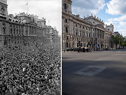 File photo dated 08/05/45 showing huge crowds at Whitehall, London, celebrating VE (Victory in Europe) Day in London, marking the end of the Second World War in Europe, 75 years ago, and how it looked 2/5/2020.