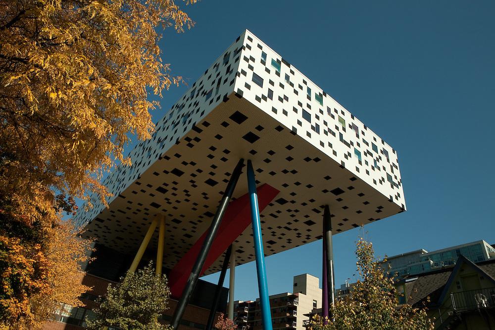 "Will Alsop's ""pencil box"" addition to the Ontario College of Art & Design's Sharp Centre for Design."