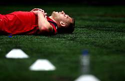 Aden Baldwin looks exhausted after taking part in a bleep test as Bristol City Under 23's return to training with fitness testing ahead of the 2017/18 season - Mandatory by-line: Robbie Stephenson/JMP - 30/06/2017 - FOOTBALL - SGS Wise Campus - Bristol, United Kingdom - Bristol City Under 23's Fitness Tests