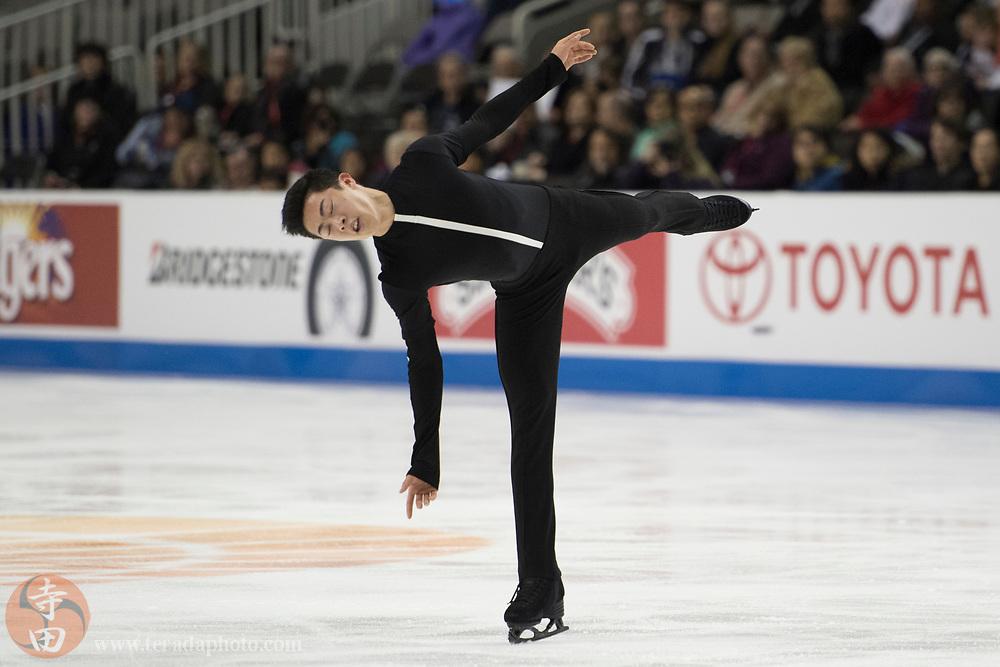 January 4, 2018; San Jose, CA, USA; Nathan Chen in the mens short program during the 2018 U.S. Figure Skating Championships at SAP Center.