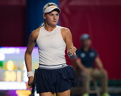 October 10, 2018 - Dayana Yastremska of the Ukraine in action during her second-round match at the 2018 Prudential Hong Kong Tennis Open WTA International tennis tournament (Credit Image: © AFP7 via ZUMA Wire)