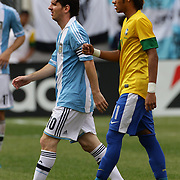 Lionel Messi, Argentina, (left) and Neymar, Brazil, during the Brazil V Argentina International Football Friendly match at MetLife Stadium, East Rutherford, New Jersey, USA. 9th June 2012. Photo Tim Clayton
