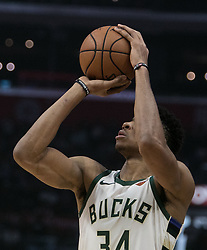 November 10, 2018 - Los Angeles, California, U.S - Giannis Antetokounmpo #34 of the Milwaukee Bucks takes a shot during their NBA game with the Los Angeles Clippers on Saturday November 10, 2018 at the Staples Center in Los Angeles, California. Clippers defeat Bucks in OT, 128-126. (Credit Image: © Prensa Internacional via ZUMA Wire)