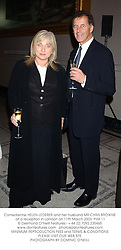 Comedienne HELEN LEDERER and her husband MR CHRIS BROWNE at a reception in London on 11th March 2003.PHX 11