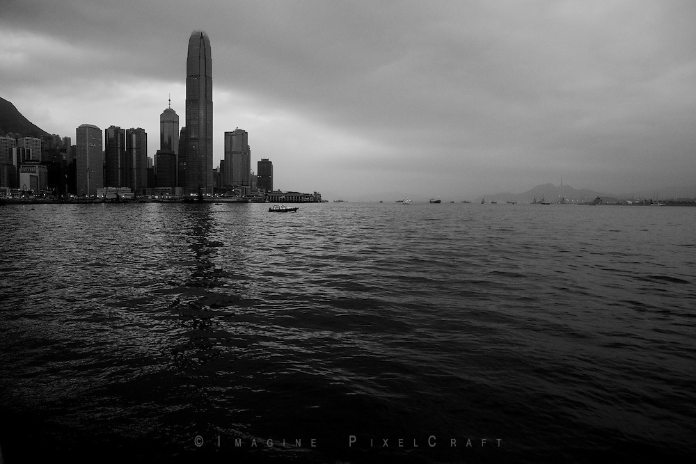 Hong Kong Central Skyline in B&W.