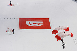 Red Bull's parachuters  after the Flying Hill Team First Round at 4th day of FIS Ski Flying World Championships Planica 2010, on March 21, 2010, Planica, Slovenia.  (Photo by Vid Ponikvar / Sportida)