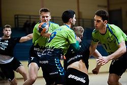 during handball match between RD Urbanscape Loka and RK Gorenje Velenje in 1. NLB league 2020/21, on 5 November, 2020 in Sport hall Poden, Skofja Loka, Slovenia. Photo by Grega Valancic / Sportida