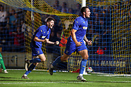 AFC Wimbledon attacker Tommy Wood (22) celebrating after scoring goal during the Pre-Season Friendly match between AFC Wimbledon and Crystal Palace at the Cherry Red Records Stadium, Kingston, England on 30 July 2019.