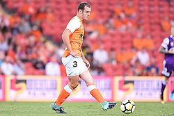 January 18, 2018 - Brisbane, QUEENSLAND, AUSTRALIA - Luke DeVere of the Roar (#3) passes the ball during the round seventeen Hyundai A-League match between the Brisbane Roar and the Perth Glory at Suncorp Stadium on January 18, 2018 in Brisbane, Australia. (Credit Image: © Albert Perez via ZUMA Wire)