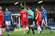 RED CARD Tom Eaves Sent Off - Straight Red during the EFL Sky Bet League 1 match between Rochdale and Gillingham at Spotland, Rochdale, England on 23 September 2017. Photo by Daniel Youngs.