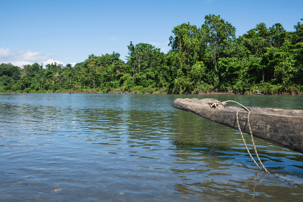 Dugout canoe on the Clay River in Likan, East Sepik Province, Papua New Guinea<br /><br />(June 20, 2019)