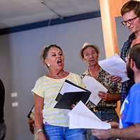 """071014       Cable Hoover<br /> <br /> Kristi Davis, center, and other cast members rehearse a musical piece for the play """"Broadway at the Rocco"""" Thursday at the Old School Gallery in El Morro."""