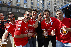 May 25, 2018 - Kiev, Ukraine - Liverpool fans gather prior the final of the UEFA Champions League in a fanzone downtown Kiev, Ukraine, 26 May 2018. Real Madrid will face Liverpool FC in the UEFA Champions League final at the NSC Olimpiyskiy stadium on 26 May 2018. (Credit Image: © Oleg Pereverzev/NurPhoto via ZUMA Press)