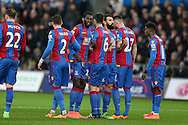 Emmanuel Adebayor of Crystal Palace (2nd left) lines up the wall with his capt Mile Jedinak (3rd right) but they can't stop the opening free kick scored by Gylfi Sigurdsson .Barclays Premier league match, Swansea city v Crystal Palace at the Liberty Stadium in Swansea, South Wales on Saturday 6th February 2016.<br /> pic by Andrew Orchard, Andrew Orchard sports photography.