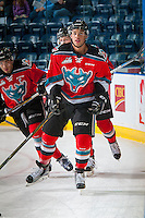 KELOWNA, CANADA - OCTOBER 14: Devante Stephens #21 of Kelowna Rockets warms up against the Saskatoon Blades on October 14, 2016 at Prospera Place in Kelowna, British Columbia, Canada.  (Photo by Marissa Baecker/Shoot the Breeze)  *** Local Caption *** Devante Stephens;