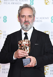 Sam Mendes in the press room after winning the award for Best Film with 1917 at the 73rd British Academy Film Awards held at the Royal Albert Hall, London.. Photo credit should read: Doug Peters/EMPICS